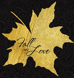 autumn maple leaf with gold acrylic texture vector image vector image