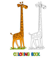 funny giraffe coloring book vector image
