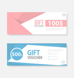 Pink blue cute pattern Gift voucher template vector image