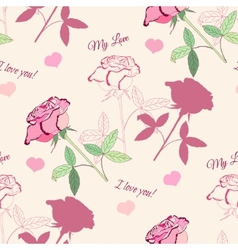 Seamless pattern with pink roses. Vector illustrat vector image vector image