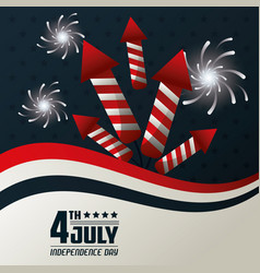 4th july independence day fireworks festive vector