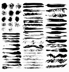a collection ink lines stains and blots vector image