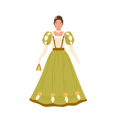 adorable fashion woman in retro dress vector image
