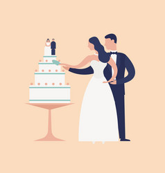 adorable newlyweds cutting cake with topper vector image