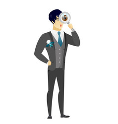 Asian groom with magnifying glass vector