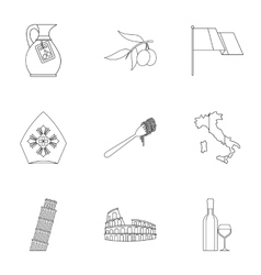 Attractions of Italy icons set outline style vector image