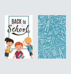 back to school banner with kids and pattern vector image
