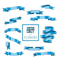 Beautiful blueribbons set for design vector image