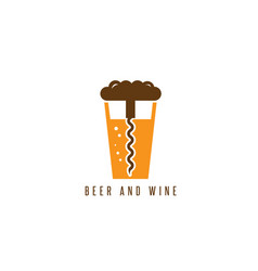 Beer glass and corkscrew design template vector