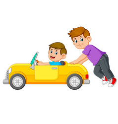 Boy is pushing car with his friend on it vector