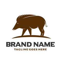 brown pig logo vector image