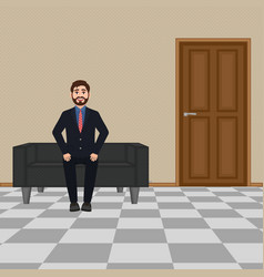 Businessman sitting on the sofa bearded smiling vector
