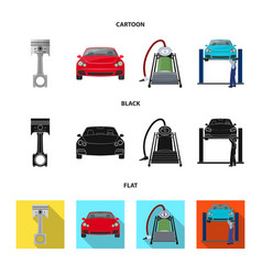 Car on lift piston and pump cartoonblackflat vector