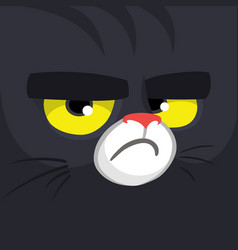 Cartoon black witch cat face vector