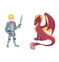 Cartoon knight with fierce dragon on white vector