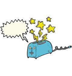Cartoon sparking toaster with speech bubble vector