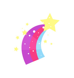 Cartoon star with rainbow tail vector