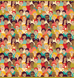 Children crowd group color seamless pattern vector