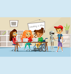 Children in school classroom vector