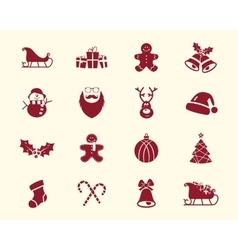 Christmas Happy New Year and Winter icons vector image