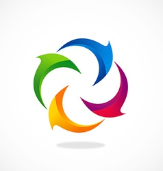 Circle curl 2D abstract logo vector