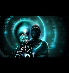 Computer hacker with a hood touch screen vector