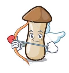 Cupid pleurotus erynggi mushroom character cartoon vector