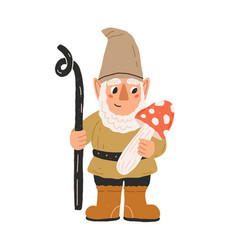 Cute and funny garden gnome or dwarf holding vector