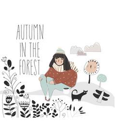 cute girl walking in forest hello autumn vector image