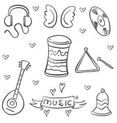 doodle musical instrument theme art vector image