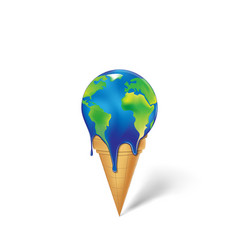 Earth ice cream is melting isolated on a white vector