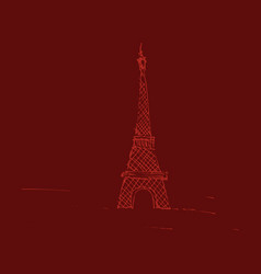 eiffel tower sketch style old engraving vector image