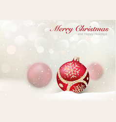 elegant christmas greeting with red baubles vector image
