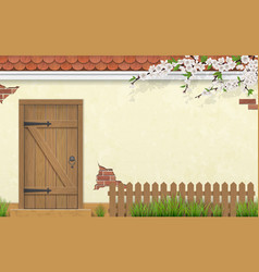 Facade with old wooden door fence branch grass vector