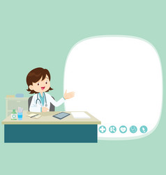 Freemale doctor present and sitting at table vector