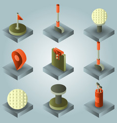 golf color gradient isometric set vector image