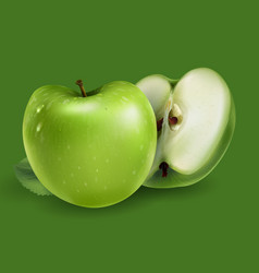 Green apples on a green background vector