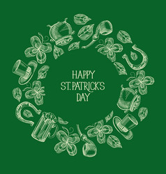 green st patricks day round template vector image