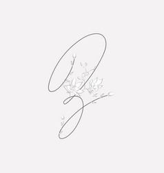 Hand lettering floral z monogram and logo vector