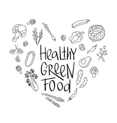 Healthy green food sign with green vegetables vector