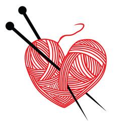Heart wool knitting needle isolates hobby vector