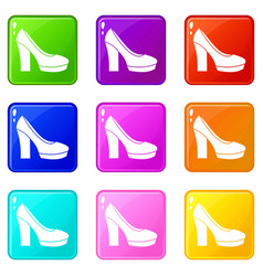 High heel shoes set 9 vector