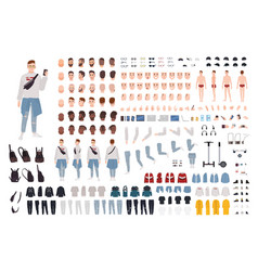 Hipster boy in trendy clothes constructor set vector