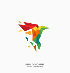 hummingbird polygon color full concept vector image