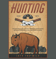 Hunting sport vintage banner with bison animal vector
