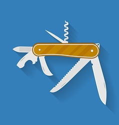Icon of knife Multi functional camping and hiking vector