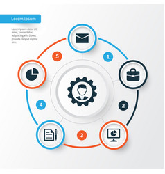 Job icons set collection of contract leader pie vector