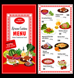 Korean cuisine menu and prices asian food poster vector