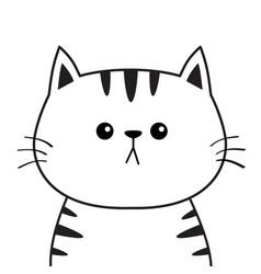 Linear cat sad head face silhouette contour line vector