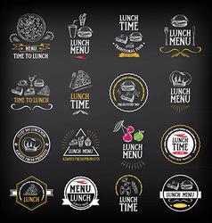 Lunch menu logo and badge design vector